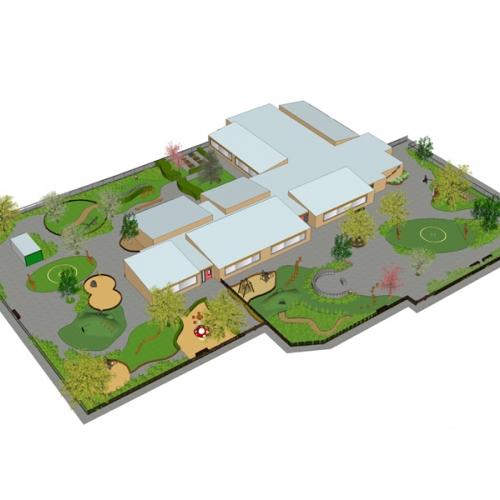 Groen schoolplein ontwerp voor OBS de Huet